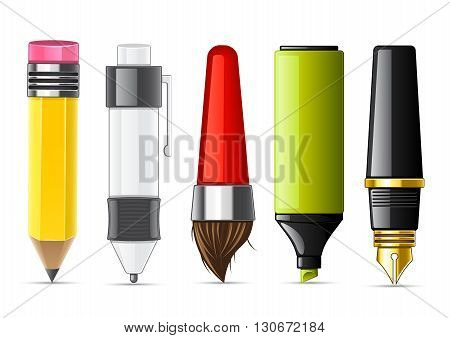 Set of five stationery objects for school