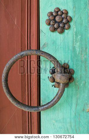 Rusty and old door handle  of Korean buildings