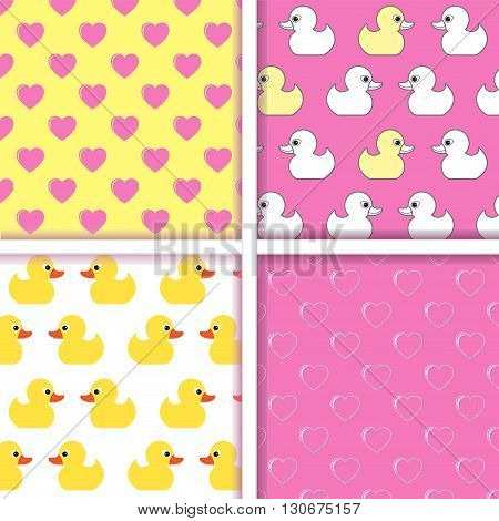 Set of vector seamless patterns. Seamless pattern of small duckling and sseamless pattern with hearts