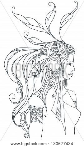 Girl in boho style. Coloring page. Vector