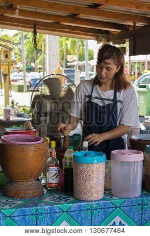 Thai Street Food, Papaya Salad (papaya Pok Pok)