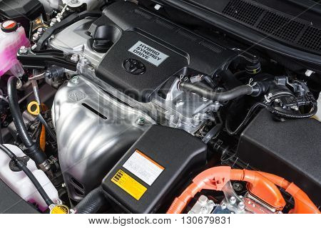 BANGKOK, THAILAND - MAY 20, 2016 : Toyota logo on Toyota Camry hybrid 2016 model engine , one of the most successful hybrid car from Japanese automobile manufacturer