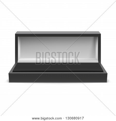 Open rectangular box for jewelry on a white background
