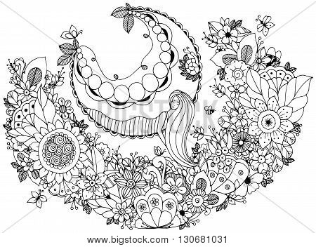 Vector illustration Zen Tangle girl on a swing in the flowers. Doodle garden forest Thumbelina. Coloring book anti stress for adults. Coloring page. Black and white.