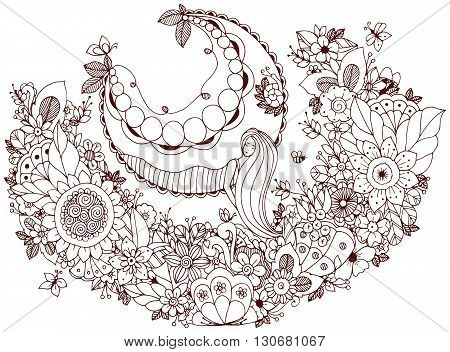 Vector illustration Zen Tangle girl on a swing in the flowers. Doodle garden forest Thumbelina. Coloring book anti stress for adults. Coloring page. Brown and white.