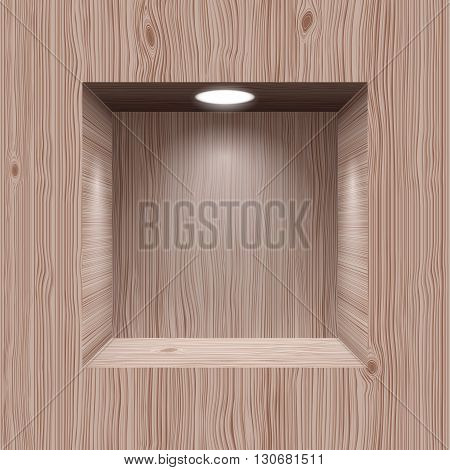 Cubic wooden niche in the wall lighted lamp
