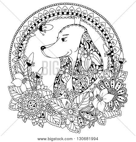 Vector illustration Zen Tangle Dog in round frame floral. Doodle Art. Coloring book anti stress for adults. Black and white.