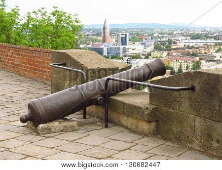 old cannon on the rampart of Spilberk castle in Brno, Czech Republic