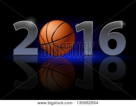 New Year Twenty-Sixteen: metal numerals with basketball instead of zero having weak reflection