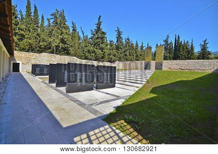 KAISARIANI GREECE, APRIL 4 2016: memorial at Kaisariani shooting range, of 200 Greek communists, executed by the Nazi occupation authorities on 1st May 1944.