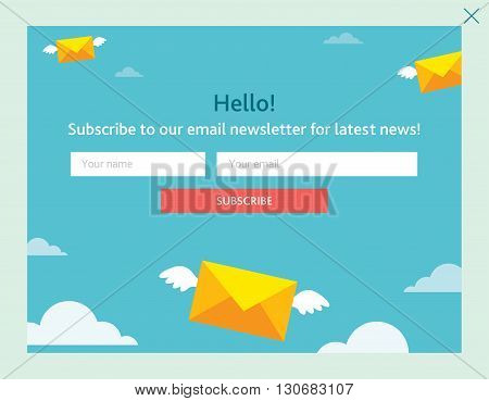 Vector template for email subscribe. With envelopes in sky.