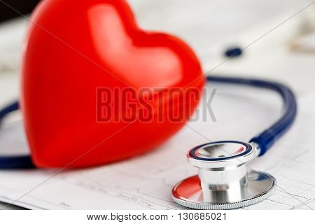 Medical Stethoscope Head And Red Toy Heart
