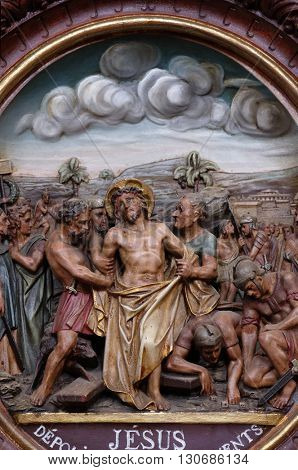 PLETERJE, SLOVENIA - NOVEMBER 06: 10th Stations of the Cross, Jesus is stripped of His garments, Carthusian monastery in Pleterje, Slovenia on November 06, 2015.