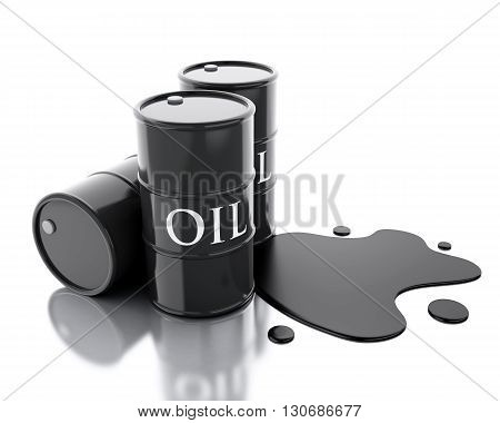 3d renderer image. Three barrels of oil spilled. Isolated white background.