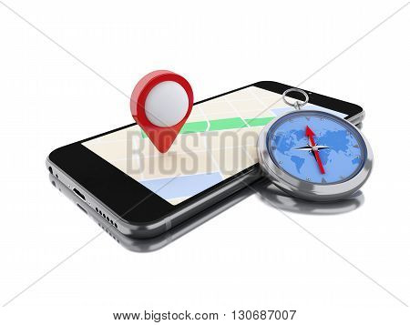 3d renderer image. Smartphone with a map red pointer and a compass. Navigation concept. Isolated white background.