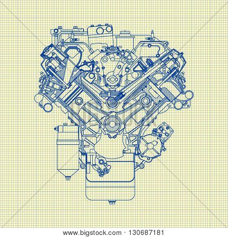 Drawing old engine on graph paper Vector background.