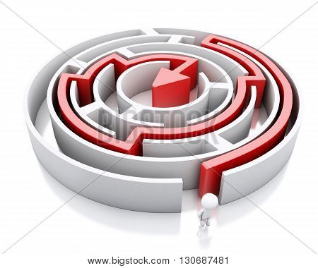 3d renderer image. White people and a maze with red arrow marking the route. Success challenge. Isolated white background.
