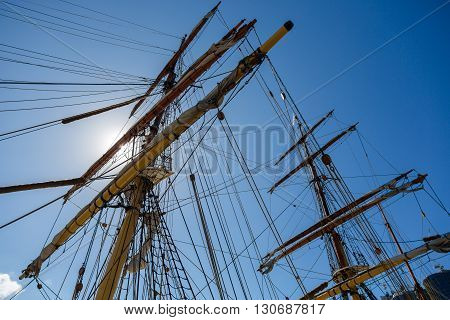 Masting Of Big Wooden Sailing Ship Detailed Rigging Without Sails