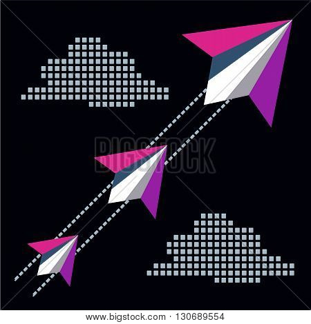 Paper planes flying in sky with clouds. Start up poster concept. Leadership or career concept. Migration concept. Travel vacation post letter delivery service concept. Vector illustration