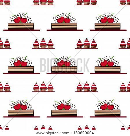 seamless pattern with chocolate cakes with cherry. vector