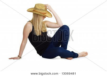 Attractive Girl In The Wicker Hat