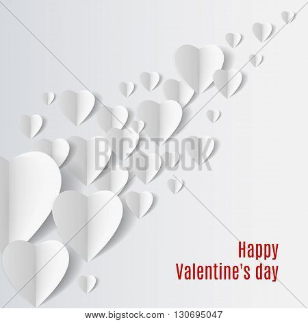 Background with several white folded paper hearts.