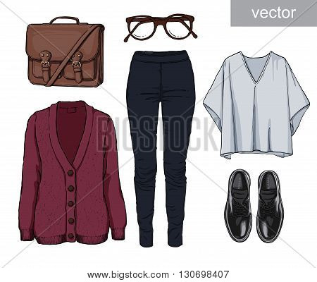 Lady fashion set of autumn, spring season outfit. Illustration stylish and trendy clothing. Cardigan, denim, glasses, schoolbag, shoes, boots. Vector