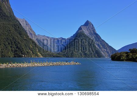 Famous travel destination in New Zealand. Mitre Peak and Milford Sound.