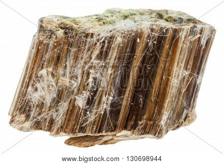 Piece Of Brown Asbestos Isolated On White