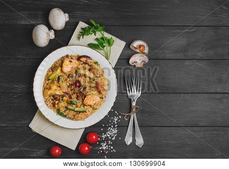 Risotto With Chicken Meat And Mushrooms