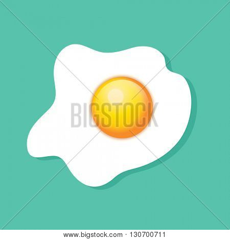Top view of a fried egg, sunny side up, over turquoise background.