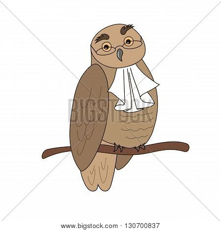 Cartoon illustration of an owl in glasses with jabot.