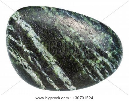Polished Gemstone Of Chrysotile Isolated On White