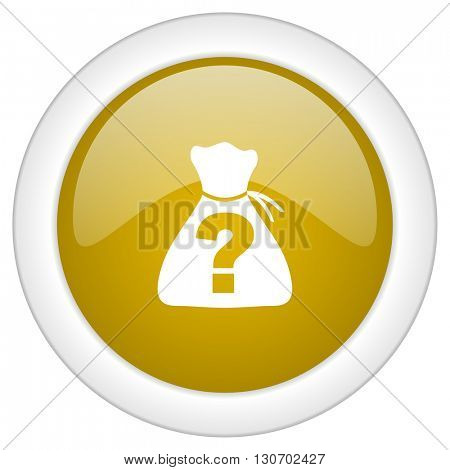 riddle icon, golden round glossy button, web and mobile app design illustration