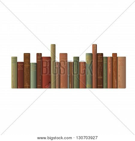 A row of old books. Vector illustration.