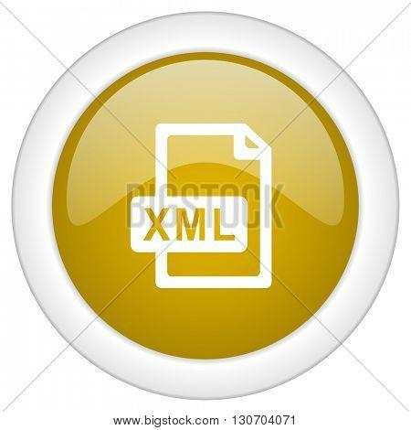 xml file icon, golden round glossy button, web and mobile app design illustration