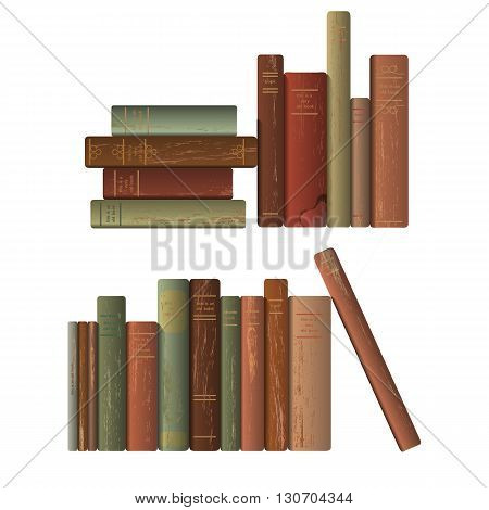 Two rows of old books. Vector illustration.
