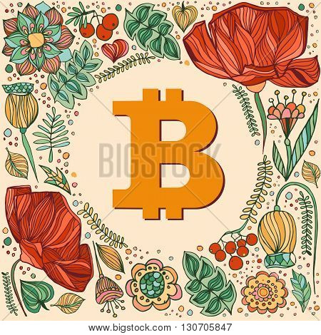 Bitcoin symbol and frame with flowers and berries