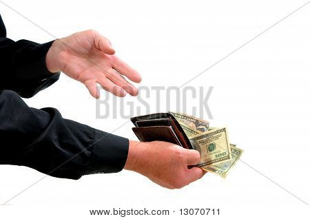 Man offering money from wallet