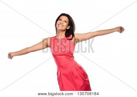 Happy Mixed Race Woman Raising Arms. Joy.