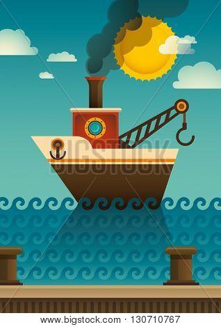 Tugboat illustration in color. Vector illustration.