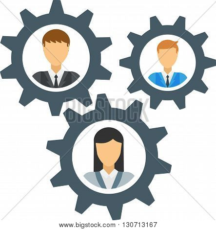 Human mechanism gear design and human mechanism concept. Human mechanism technology machine business and cog human mechanism robot people cogwheel brain teamwork machinery. Engineering mechanical man.
