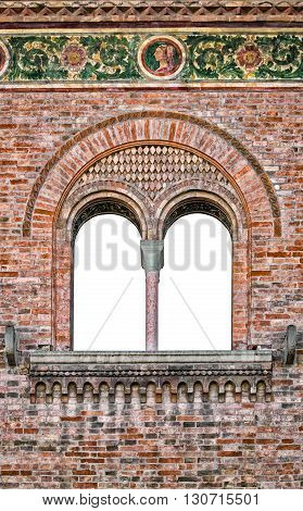 Double lancet window of Italian medieval palace suitable as a frame or border.