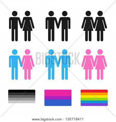 Heterosexual and homosexual couple symbols with pride flags. Stylized gay and lesbian couples bisexual flag. Vector icon set.