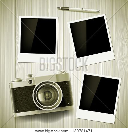 Old camera and photos lie on a wooden table. Stock vector illustration.