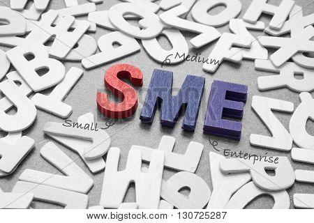 SME - Small and Medium Enterprise wording - business concept