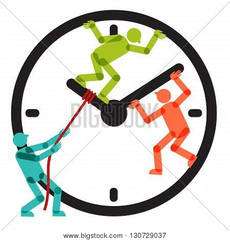 Three colorful persons figures trying to stop passage of time