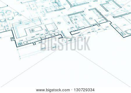Blueprint Floor Plan, Technical Drawing, Construction Background