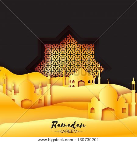 Gold Black Origami Mosque Star Window Ramadan Kareem Greeting card with arabic arabesque pattern. Golden metal Desert Landscape. Holy month of muslim. Symbol of Islam.