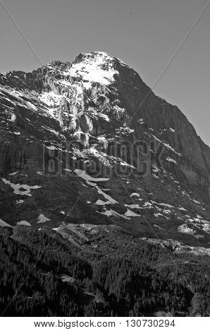 Mount  Eiger, Swiss Alps - snow capped mountains and deep valleys stunning view breath-taking panorama, Nordwand
